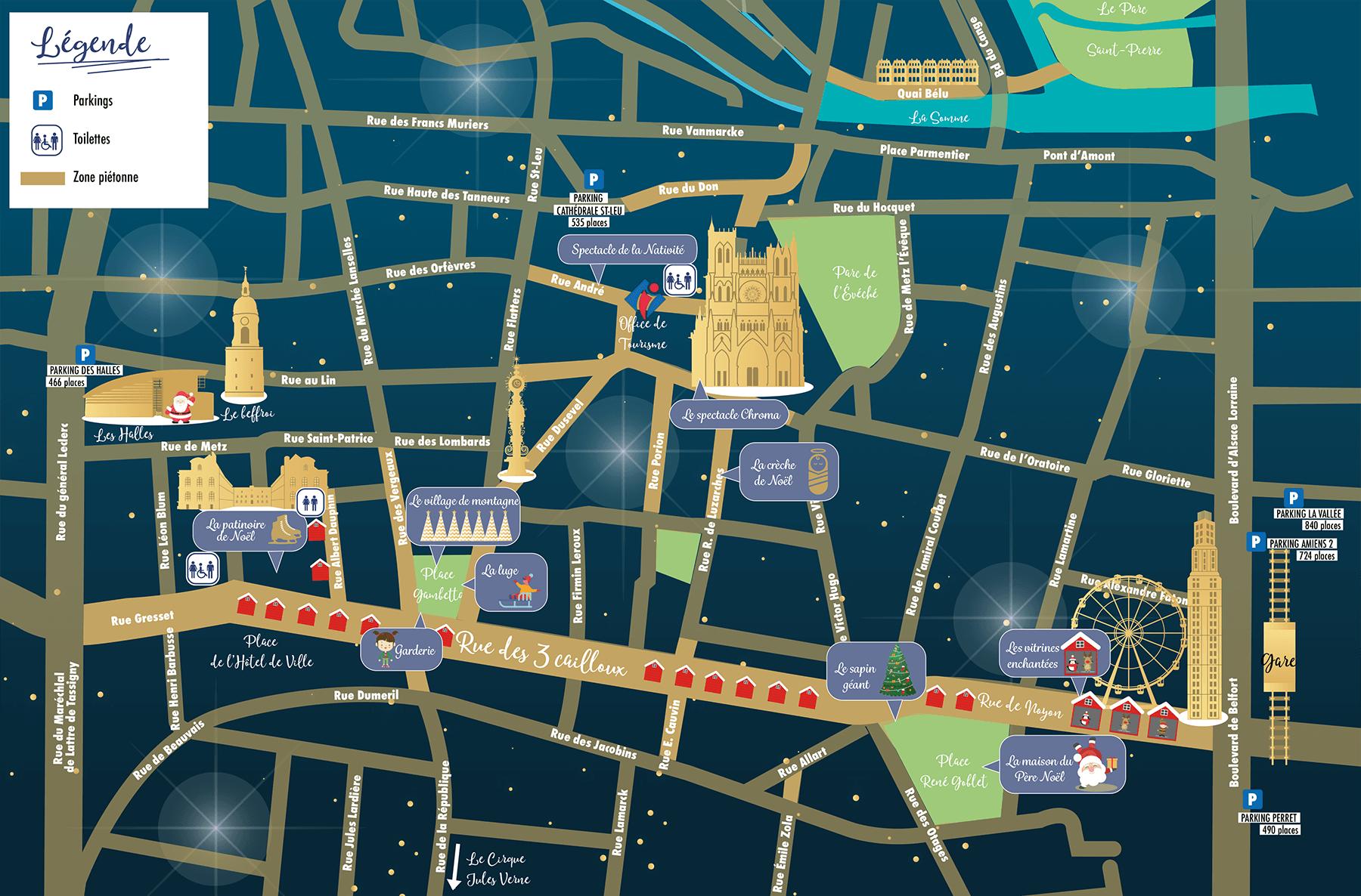 Plan 2018 du Marché de Noël d'Amiens